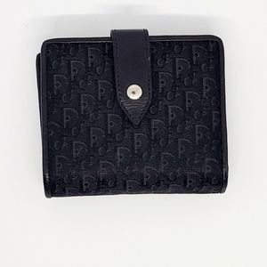 Dior Black Monogram and Leather Wallet.